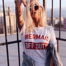 Wholesale Mermaid Men - Free Shipping women Mermaid Off Duty T Shirts street tide brand short-sleeved loose short-sleeved 100% cotton personality men T-shirt