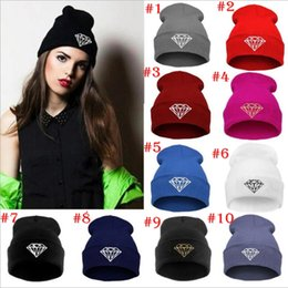 Wholesale Diamond Beanies Wholesale - 8 Colors Winter Hat Cap Beanie Wool Knitted Men Women Caps Hats Diamond Embroidery Skullies Warm Beanies For Men And Women YYA350