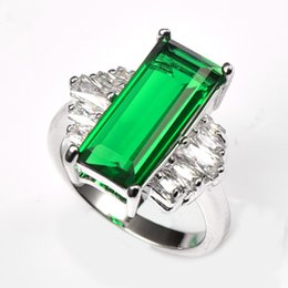 Shop simulated emerald jewelry uk simulated emerald jewelry free fashion jewelry rings huge simulated emerald with multi white crystal zircon 925 sterling silver ring for women size 6 7 8 9 aloadofball Image collections