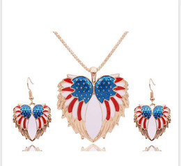 Wholesale American Flag Pendant Free - FREE SHIPPING MIX ORDER US$10 Fashion Colorful Enamel Angel Wings Design Jewelry Sets American Flag Pendants Necklace Earrings Set For Women