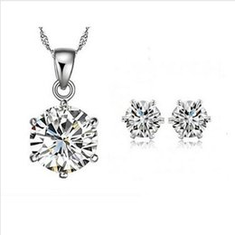 Wholesale Grade Aa - 2014 New Arrival Valentine's Day gift Elegant Jewelry Set Necklace Pendant Stud Earring With Grade AA Zirconia Crystal For Women