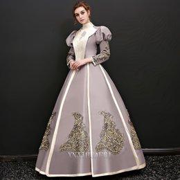 Wholesale Medieval Dresses Costumes - Free ship long bubble sleeve collar queen venice carnival queen ball gown medieval dress Renaissance Gown Victoria Antoinette