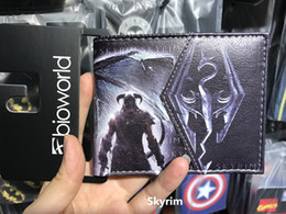 Wholesale Zipper Chain Wallet For Men - Skyrim Dragon wallet The Elder Scrolls Skyrim Dragon Badge Chain Wallet student Purse short billfold for young man Cool gift choose