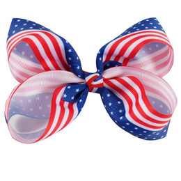 Wholesale 4th July Wholesale - Patriotic Boutique 4th of July Hair Bow Independence Day Hair Barrettes American Flag Bows For Girl
