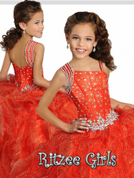 Wholesale Bling Organza Wedding Dresses - Cute Organza Ball Gown Flower Girl Dresses Bling Bling Sequins Puffy Tulle Beading Long 2017 Spaghetti Wedding Flower Girl Dress for Party