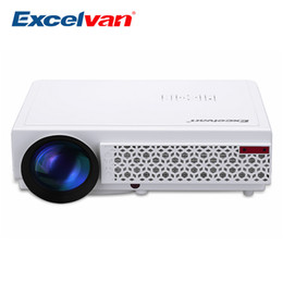 Wholesale Audio Input Interface - Wholesale-Excelvan LED 96+ LED LCD 3D Projector 1280*800 2500 Lumens Proyector With AV Audio HDMI Network VGA input USB IR TV Interfaces