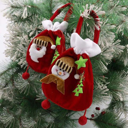 Wholesale Wholesale Small Velvet Bags - 9kinds Christmas Gold Velvet Gift Bag Christmas Gift Bag Santa Clause   Snowman Pattern Candy Bag Tree Decoration small size