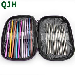 Wholesale Crocheting Tools - 22pc Multicolour Aluminum Crochet Hook Knitting Needles Handle Knit Set Weave Sweater knitting tools Craft Yarn Stitch Loom Kit free deliver