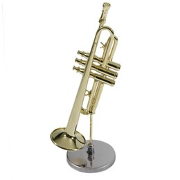 Wholesale Wholesale Instrument Cases - Wholesale- Creative Mini Trumpet A Good Gift For Child Mini Trumpet Musical Instrument Model For Kid Mini Trumpet with Case Hot Sale