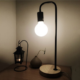 Wholesale Lamps Edison Bulb Table - Modern Wooden Wrought Iron Desk Lamp Simple Beautiful Creative Dormitory Edison Table Lamps For Study Room Bedroom Portable Lanterns