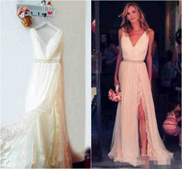 Wholesale Cheap Floral Sashes - Sexy Thigh-High Slits Bohemian Wedding Dresses Pluning V Neck Split Lace Chiffon Plus Size Beach Boho Bridal Gowns Cheap