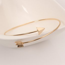 Wholesale Gold Arrow Bracelet Wholesale - 66mm Women Girls Alloy Cuff Bangles gold alloy Arrow opening bracelet female wholesale free shipping