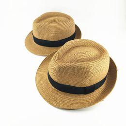 Wholesale Travel Straw Hats - Children's hat summer children's straw hat boys Korean spring and summer travel baby shade parent-child sunscreen beach hat