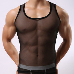 Wholesale Transparent Sexy Funny - Wholesale- STB501 Mesh Sheer Mens Brand Fashion Tank Tops Casual Vest Sexy Transparent Funny Tanks Undershirt for man Soutong
