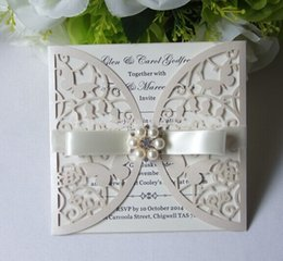 Wholesale personalized printed ribbons - Wholesale- 50-Personalized Pearl ivory Shimmer Butterfly Wedding Invitation Card with Ribbon + Inner sheet +Envelope Free custom printing