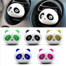 Wholesale 2pcs car styling Panda Car Perfumes original ml Solid Air Freshener Air Conditioning Vent Flavoring In the Car parfums