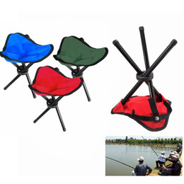 Кемпинг стул штатив онлайн-Wholesale- Aluminium Folding Picnic Barbecue Beach Camping Chair Garden BBQ Fishing Stool Tripod Lightweight Chair Seat