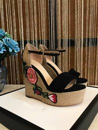 Wholesale Designer Wedge Heel Shoes - 2017 new xummer sty brand designer high-end customrore weave heel high-heeled with slope cenuine leather women sandals fashion rose shoes