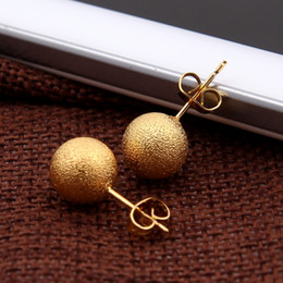 Wholesale Baby Gold Jewelry For Girls - Sky talent bao 10mm Women Fashion Natural Jewelry 24K Gold GF Earring Wedding New Ethiopian Round Stud Earrings For Baby Girls