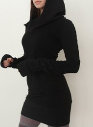 Wholesale Short Dress Long Sweater - Womens Hoodies Hooded Sweatshirt Bodycon Slim Pullover Sweater Fashion Ladies Casual Jumper Tops Short Mini Dress