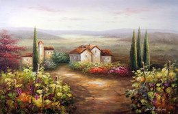 Wholesale wine canvas painting - Italian Wine Country Home Vineyard Grapes Rural Landscape,Hand-painted  HD Print Art oil painting Thick Canvas,Multi sizes  Frame Options J1