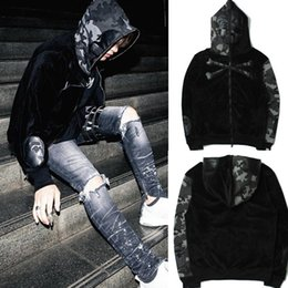 Wholesale Cashmere Women Hoodie Cardigan - 2018 Winter Europe Street Tide Brand Young Men and Women with Camo Skull hip hop skateboard Zipper Hoodie camouflage Jacket