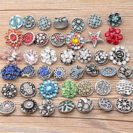 Wholesale Glass Rhinestones Bulk - Wholesale lots 18mm interchangeable snap buttons Mix styles Metal glass rhinestone crystal Ginger Snaps Charms in bulk For Jewelry Making