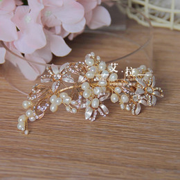 Wholesale Clear Claw Clip - New Vintage Wedding Bridal Crystal Rhinestone Pearl Beaded Hair Accessories Headband Band Crown Tiara Clip Rose Gold & Silver Headpiece