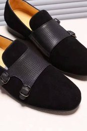 Wholesale Buckle Tops - Luxury Tops New Mens Dress Leather Shoes Buckle Oxfords Wedding Party Office Business Genuine Black Shoes