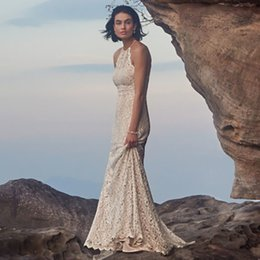 Wholesale Trumpet Silhouette Dress - Cheap Boho Beach Wedding Dresses 2016 Halter Neckline Stunning Silhouette Sheer Back Fine Cotton-nylon Lace Wedding Gowns