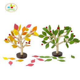 Wholesale Leaf Ornaments Wholesale - Wholesale- 2017 new arrive wooden toy tree leaf blocks ornament inserted simulation snowflake multicolor baby hand toys LL121
