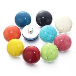 Wholesale Metal Snap Press - 10pcs lot Mix Colors Metal press button 18mm resin diy snap button charm jewelry for women men 020222