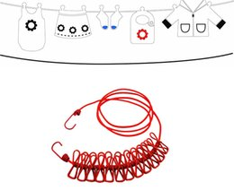 Wholesale Hanging Clothesline - 185CM Outdoor Wild Travel Portable Windproof Elastic Clothesline Clips Hanger Drying Rack Clothes Hanging Rope Line