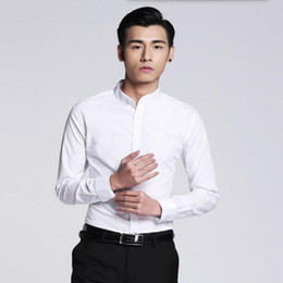 Wholesale Tailor Dress Groom - Wholesale- Newest style men shirt simple fashion groom shirt prom white tailor made mandarin collar formal long sleeve shirt