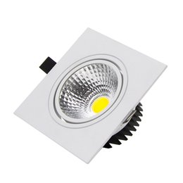 Wholesale High Quality Dimmable Led Lights - Wholesale- High Quality Square Recessed led down light 7w 9w 12w 15w COB LED Spot Lamp Dimmable Adjustable Ceiling Downlight for Home