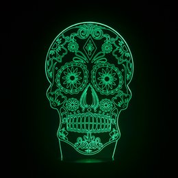 Wholesale Chinese Led Bulbs - Skull 3D illusion Bulb Lamp Chinese LED light fixtures Acrylic plates Creative Changing Veilleuse Enfant Kids Night Lights Lampe