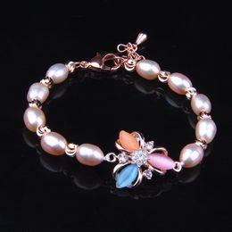 Wholesale Grain Agate - New 2017 Natural rice grain freshwater pearls Bracelet Fashion 7*10mm For women&men Vintage jade jewelry