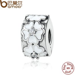 Wholesale 925 Clip Stopper - Wholesale-925-Sterling-Silver White Enamels Darling Daisy Meadow Clip Stopper Charms Fit Bracelet Jewelry Accessories PAS290