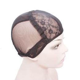Cappellino per parrucca in pizzo di alta qualità per parrucche con cinturino regolabile sul cappuccio per tessitura posteriore. Cappucci parrucca glueless neri da costume sette fornitori