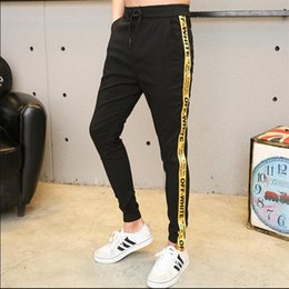 Wholesale Men Casual Slim Trousers - Wholesale -2017 spring letters casual pants nine points pants men plus fat to increase the size of Slim feet pants trousers