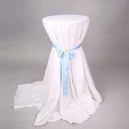 Wholesale Tablecloth Round Plain White - 5pcs Wedding Round White Table Cloths Polyester Hotel Tablecloths Party cocktail Table Cloth Plain Dining Table Linen 110inch 20170629#