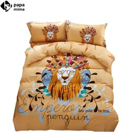 Wholesale Lion King Bedding - Wholesale-noble lion king feathers pattern light tan linens bedding 100% cotton Twin Queen Size duvet cover+bedsheet+pillowcases sheets