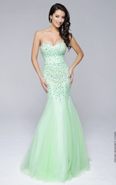 Wholesale Mint Mermaid Dress Prom - Mint Green Strapless Mermaid Evening Dress 2017 Party Formal Gown Prom Dresses Sweep Train Formal Pageant Gowns Sequined dresses