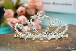 Wholesale Formal Prom Hair - Formal Prom Wedding Hair Accessories Baby Girl Princess Crown Diamond Tiaras Hair Hoop Children Super Flash Rhinestone Hair Sticks