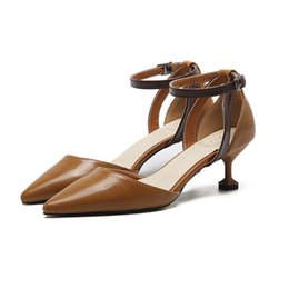 Wholesale Comfortable Dress Shoes Women - Women's Shoes High Heels buckle solid color comfortable casual shoes pointed toes lady's dress pumps kitten heel