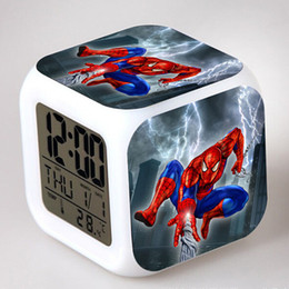 Wholesale Table Calendar Clock - Spider Man LED Digital Alarm Clock 7 colors Colorful Desk Table Clocks Night Light Glowing Kids Spiderman Toy Students Cartoon Alarm Clock