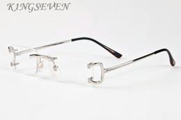 herren-silber-metall-brillenfassungen Rabatt 2018 populäre Markendesigner-Sonnenbrille randlose klare Brille Mens-Brille Gold Silber Metallrahmen Büffel Horn Brille mit Box und Fall