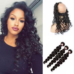 Wholesale Malaysian Loose Wave 4pcs - 9A Malaysian Hair Loose Deep Wave Ear To Ear 360 Degree Lace Band Frontal Closure With Virgin Human Hair Weave Bundles 4Pcs Lot