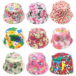 Wholesale kids sun dresses - 2017 Girls Floral Sun Hats Children Kids Baby Visor Sting Brim Casual Hats Cotton Blending Fashion Dress Caps Birthday Gifts 30 Style WX-H06