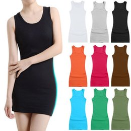 Wholesale Long Black Vest Women - plus size shirt Mini skirt vest dresses women Long sleeveless vest bottoming shirt women Sexy fashion casual dress